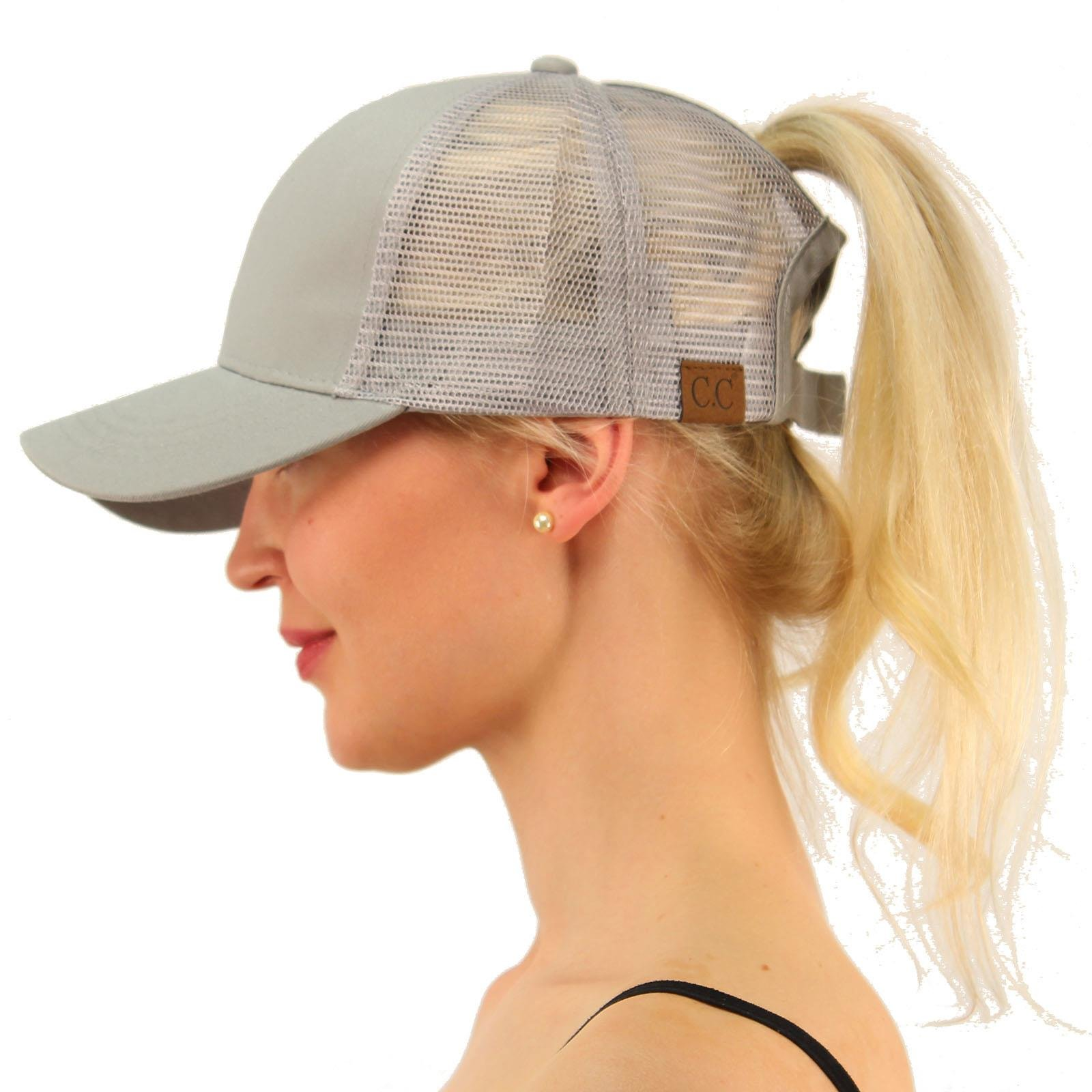C.C Ponytail Messy Buns Trucker Ponycaps Plain Baseball Visor Cap Dad Hat Gray