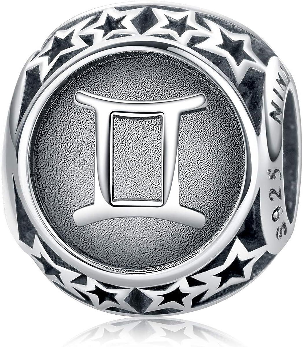 NINAQUEEN® Bead Charm ~ 12 Signo Zodiacal ~ Plata de Ley 925, Distressed, con Caja de Regalo