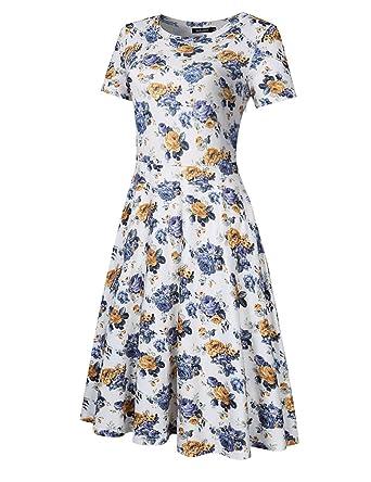 YesFashion Vestido Verano Elegantes sin Mangas Fiesta Vintage Ropa de Mujer (XXL, Floral_2): Amazon.es: Ropa y accesorios
