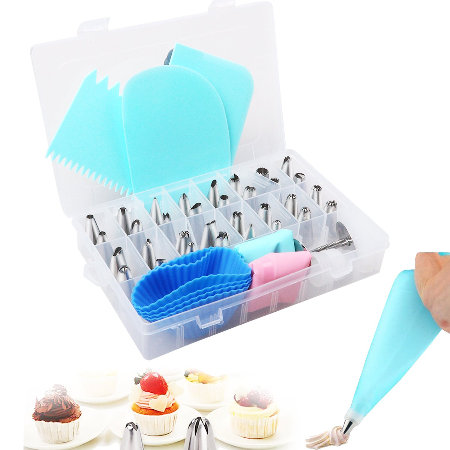 Cake Decorating Set, 32pcs Cake Piping Nozzles Tips Set with 2 Reusable Silicone Icing Bags/2 Coupler/3 Cake Scraper/4 Storage Case for Cupcakes/2 Flower Nails for DIY Cakes Birthday Cookies Cakes Pastry Baking Decorating Tools TWFRIC
