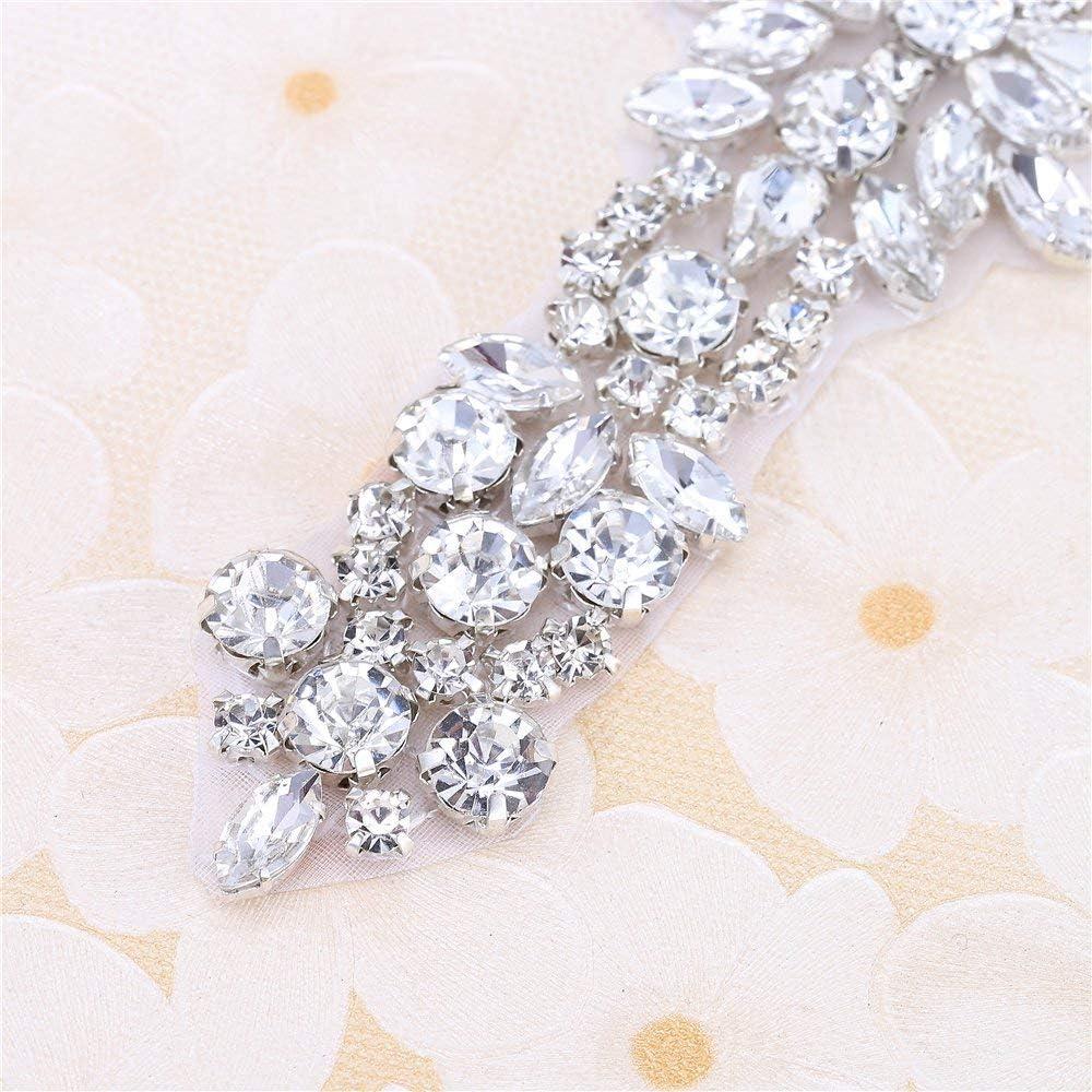 "11.6/""2.3/""in FANGZHIDI Stunning Bridal Crystal Applique for Wedding Dress-Beaded Rhinestone Belts-Silver-1 Piece-"