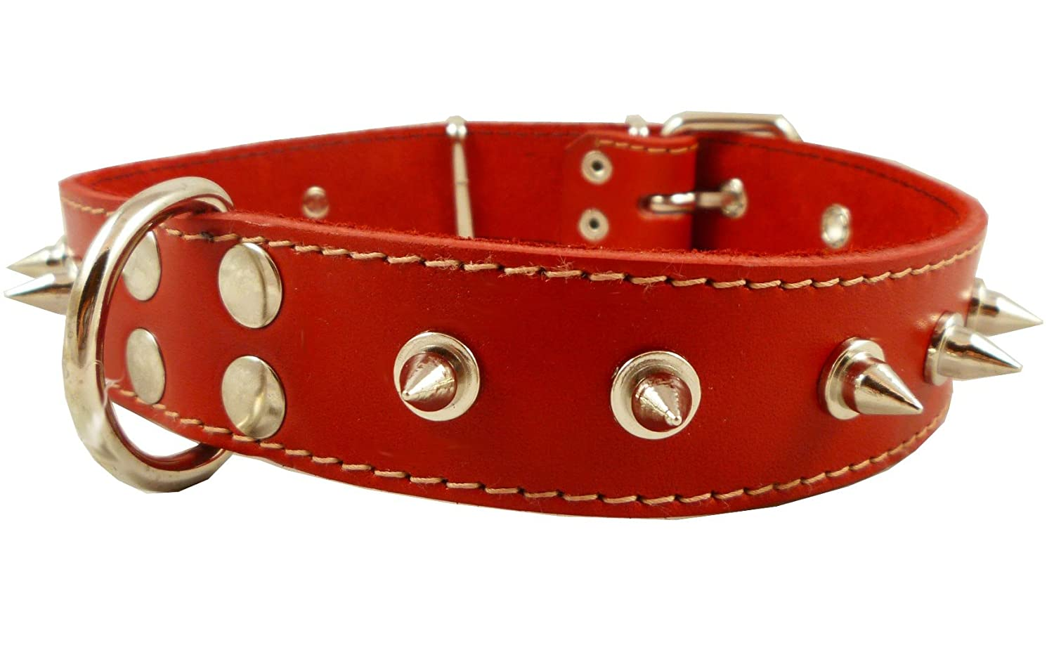 Real Leather Red Spiked Dog Collar Spikes, 1.5  Wide. Fits 17 -21.5  Neck, Large Breeds.