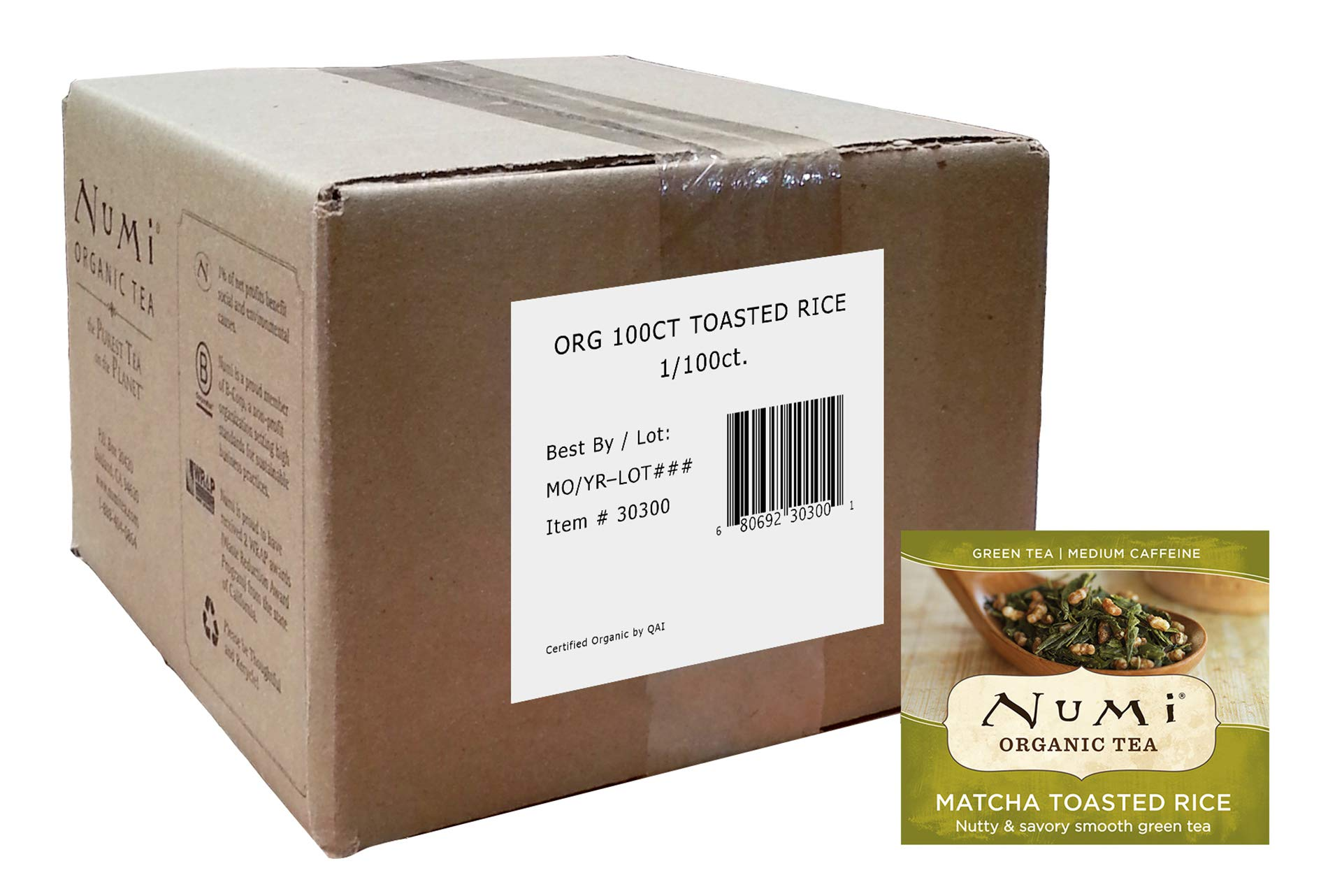 Numi Organic Tea Matcha Toasted Rice, 100 Count Box of Tea Bags, Green Tea (Packaging May Vary)