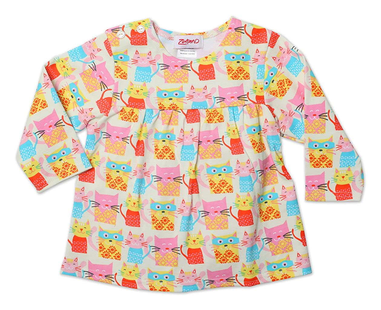 18 Months Cream Zutano Baby Girls Wonder Cat Peasant Top