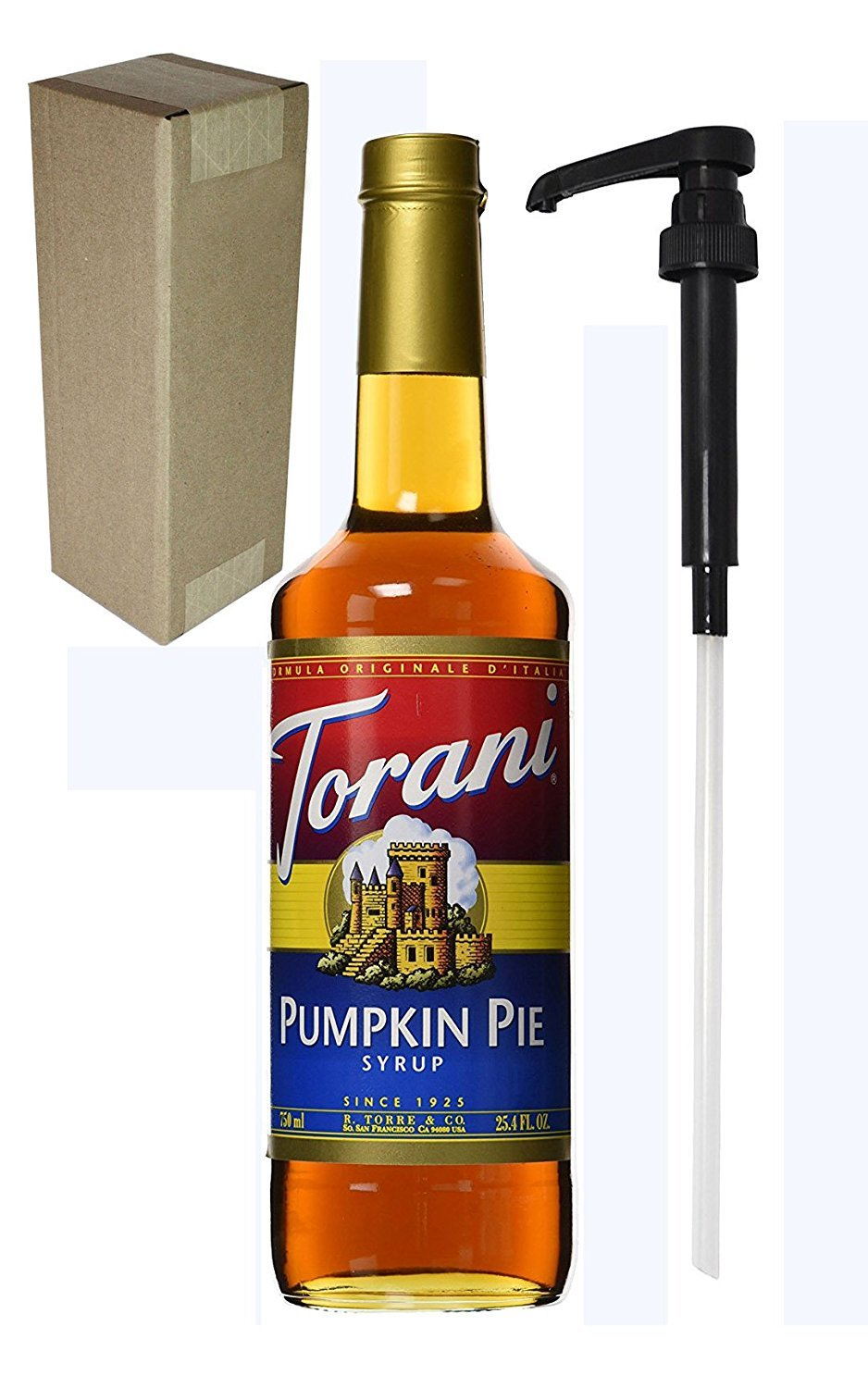 Torani Pumpkin Pie Flavoring Syrup, 750mL (25.4 Fl Oz) Glass Bottle, Individually Boxed, With Black Pump