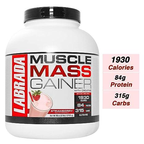 Labrada Muscle Mass Gainer (Gain Weight, Post-Workout, 84g Protein, 315g  Carbs, Gluten Free,17g BCAA, 20 Vitamins & Minerals, 8 Servings) - 6 lbs