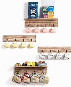 TRSPCWR Wooden Coffee Mug Holder Wall Mounted Set of 4 16 Hooks, Coffee Cup Holder, Coffee Station, Utnesils Hooks Hanger, DIY Floating Shelves for Kitchen, Living Room, Bedroom