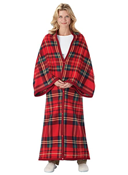 Carol Wright Gifts All-in-One Polar Fleece Blanket and Robe, Red