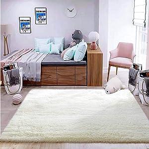 CHUANGYI Soft White Indoor Shaggy Plush Fluffy Area Rugs for Living Room, Fluffy Living Room Carpets for Children Kids Room Home Decor Nursery Rugs for Bedroom 4x5.3 Feet