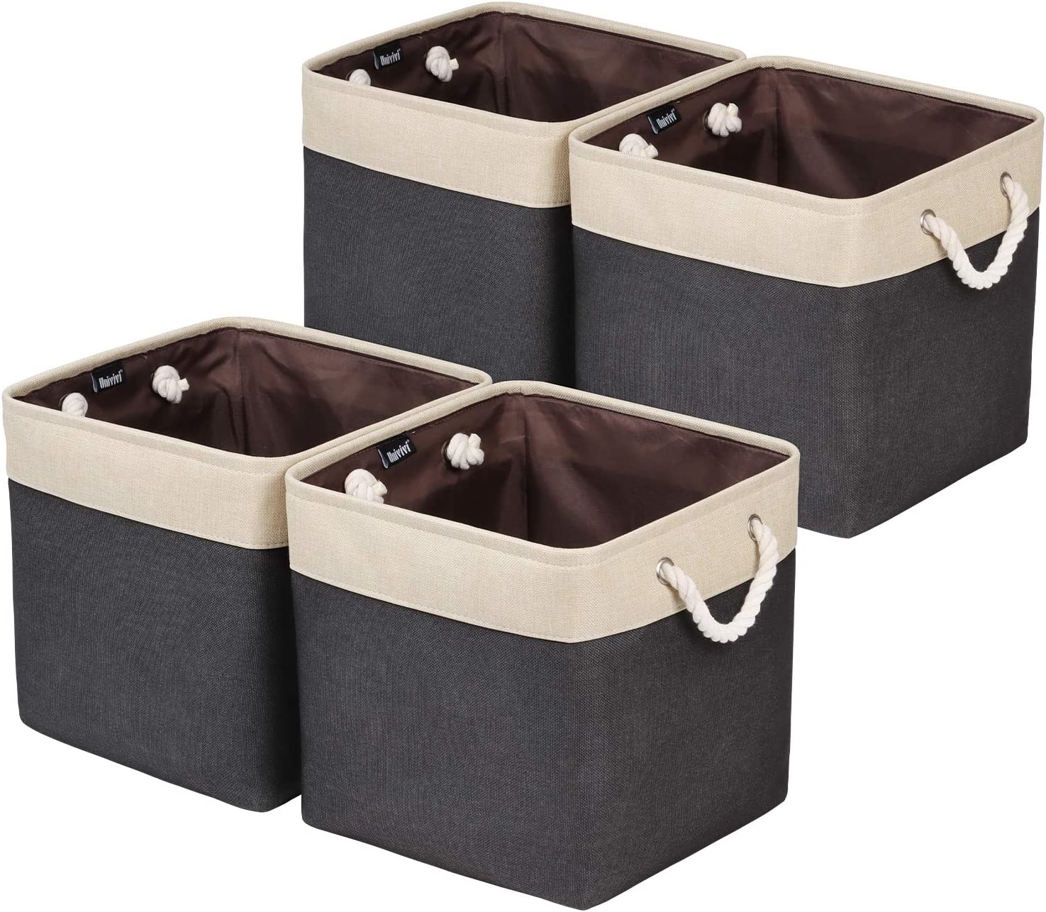 Univivi Foldable Storage Bin [4-Pack] Collapsible Cube Storage Basket with Sturdy Cotton Carry Handles for Shelf Closet Nursery Home Office Organizing (Black, 13 inch)