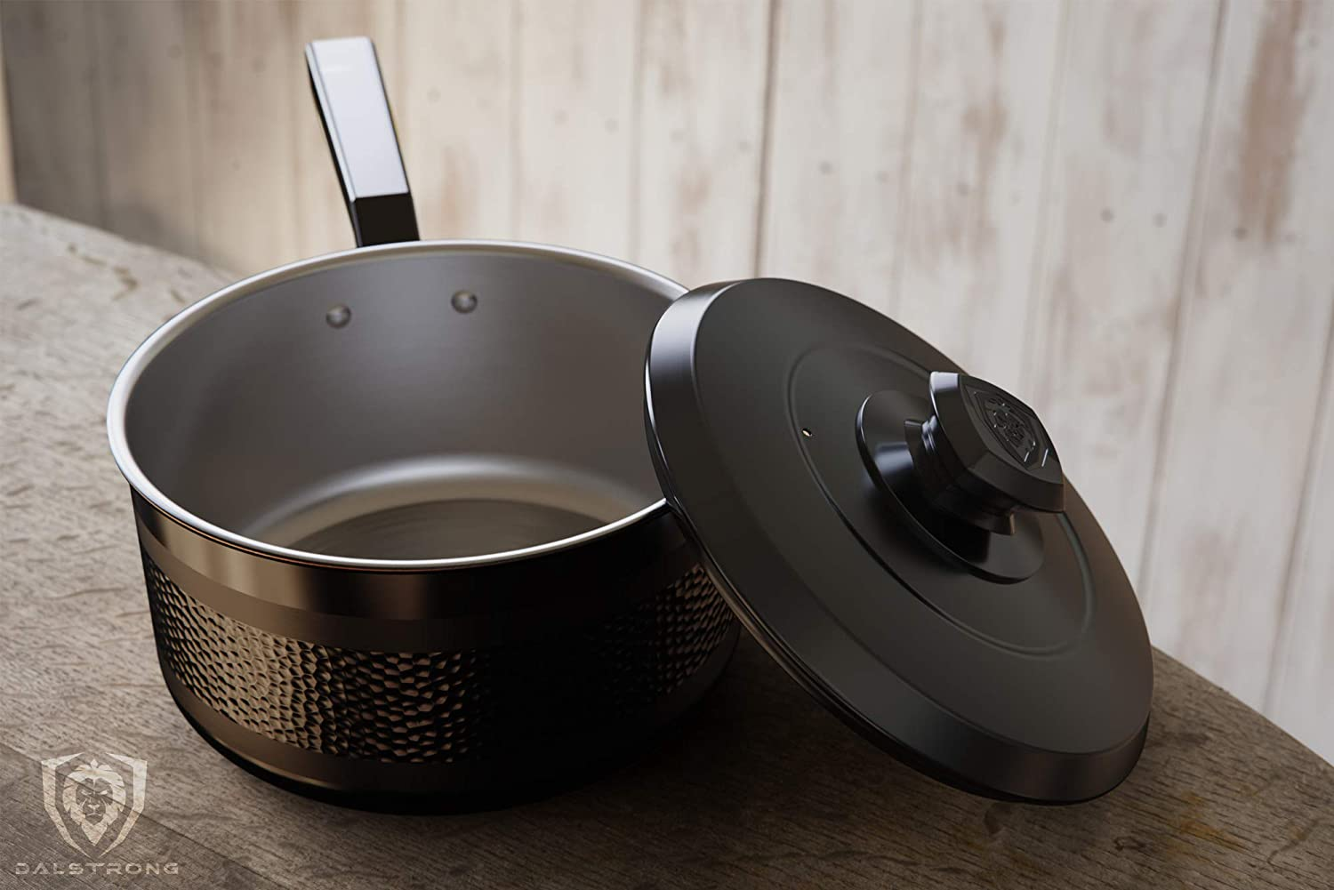 DALSTRONG 3 QT Pot Black Cookware- w//Lid /& Pot Protector 5-Ply Copper Core The Avalon Series Hammered Finish