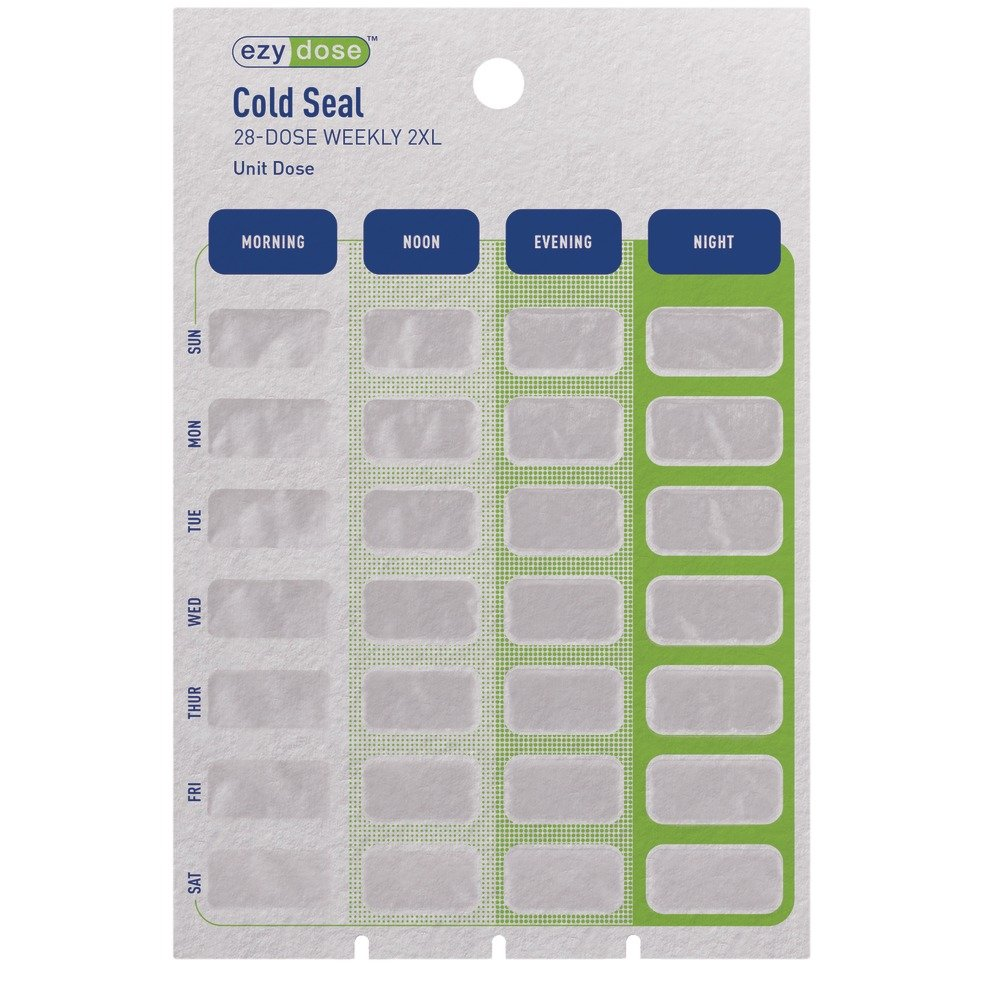 Ezy Dose Unit Dose XXL Weekly Unit Dose Cold Seal Card - Case of 250 (Item# 97612) by Apothecary