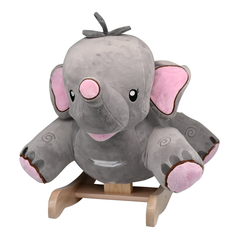 Rockabye Rosie The Elephant Rocker Ride On, Grey/pink