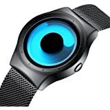 Mens Watches Men Waterproof Unique Design Cool Black Silver Wrist Watch Stainless Steel Mesh Watch for Men Blue