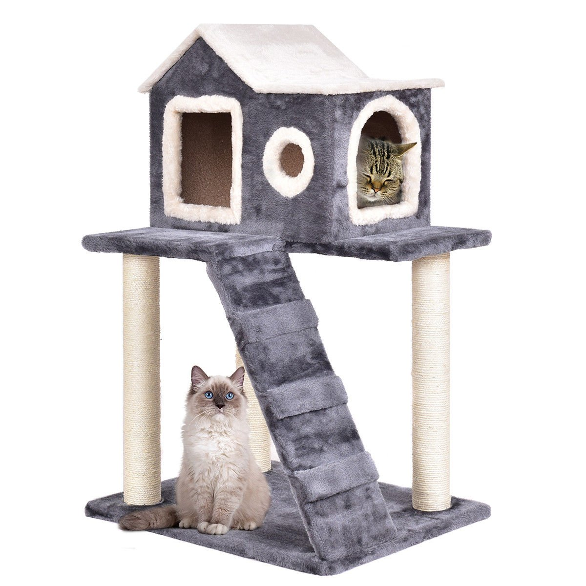 Tangkula 36'' Cat Kitty Tree Tower Condo Furniture with Scratching Posts Ladder Pet Play Toy House