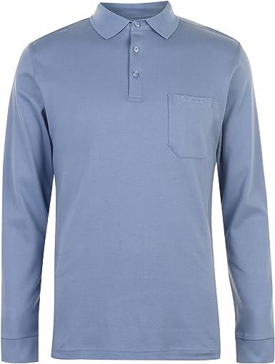 Pierre Cardin Hombre Camisa Polo de Jersey Manga Larga Ligero Azul ...