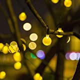 AIDDOMM String Lights Outdoor Batteries Powered 30 LEDs, Crystal Ball, Waterproof, Warm White, 21 Feet, 8 Modes