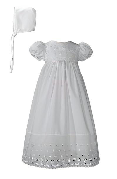 Amazon.com: Algodón blanco vestido de bautizo con borde de ...