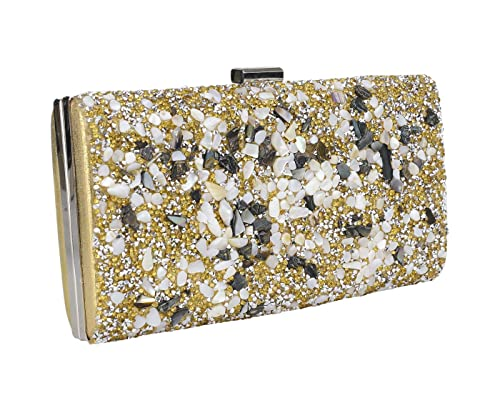 Adorelabel Womens PU Marble Chip Clutch with Swarovski Stones (Gold)