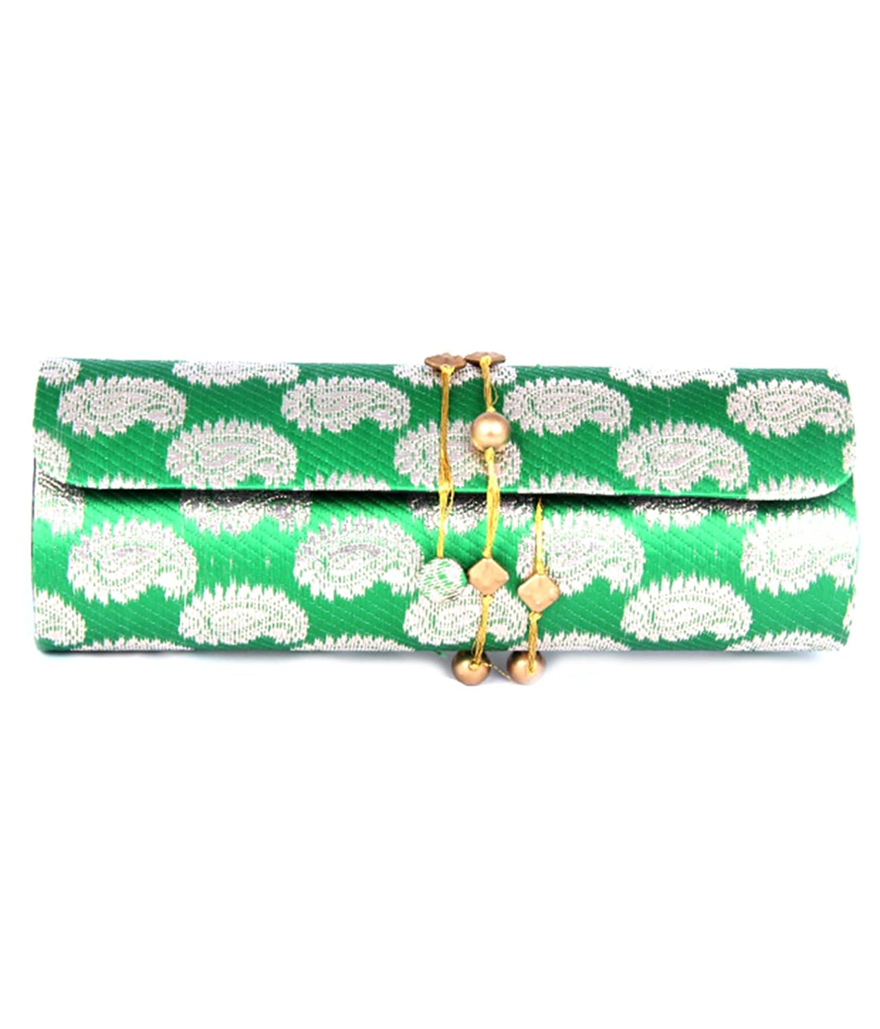 Favola dholak style silk brocade green clutch bags