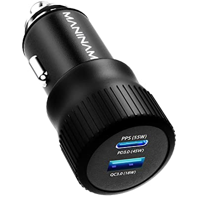 MANINAM Metal USB C Car Charger, [73W Turbo] Type C Car Charger, 2020 PPS Latest Tech Adapter, [55W PPS] Full Fast Charge for Samsung S20 Note 10 Plus, 45W PD MacBook, Any USB C Laptop Tablet Phone: Home Audio & Theater