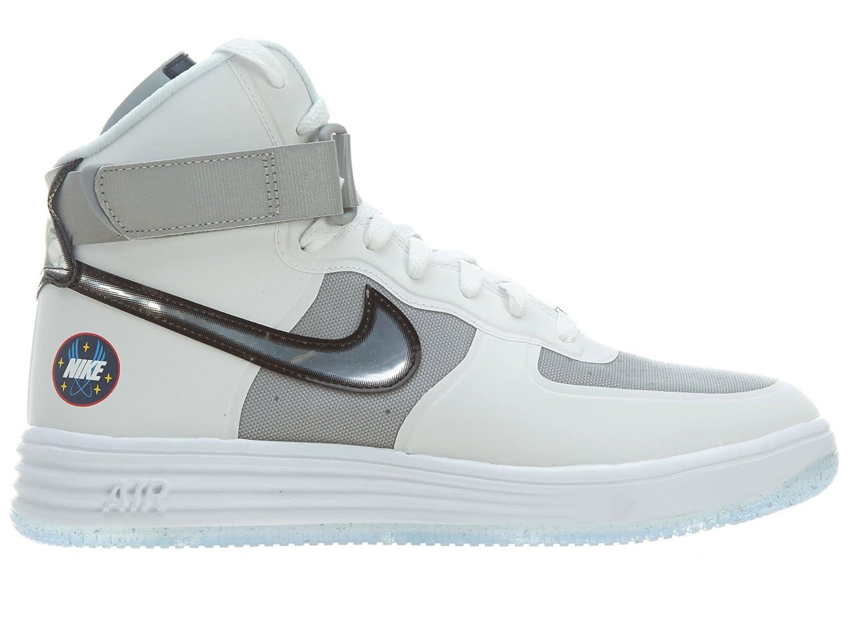 new style 07a3b 5b692 Nike Nike Lunar Force 1 Hi Wow Qs Mens Style 632359 Mens 632359-100  White Metallic Silver 8.5 D(M) US  Amazon.in  Shoes   Handbags