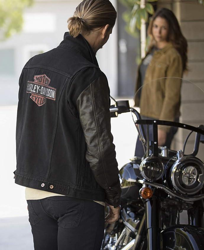 金盒特价 Harley-Davidson 哈雷 修身款 皮革拼接 男式牛仔夹克 机车夹克 6.5折$146.25 海淘转运到手约¥1097