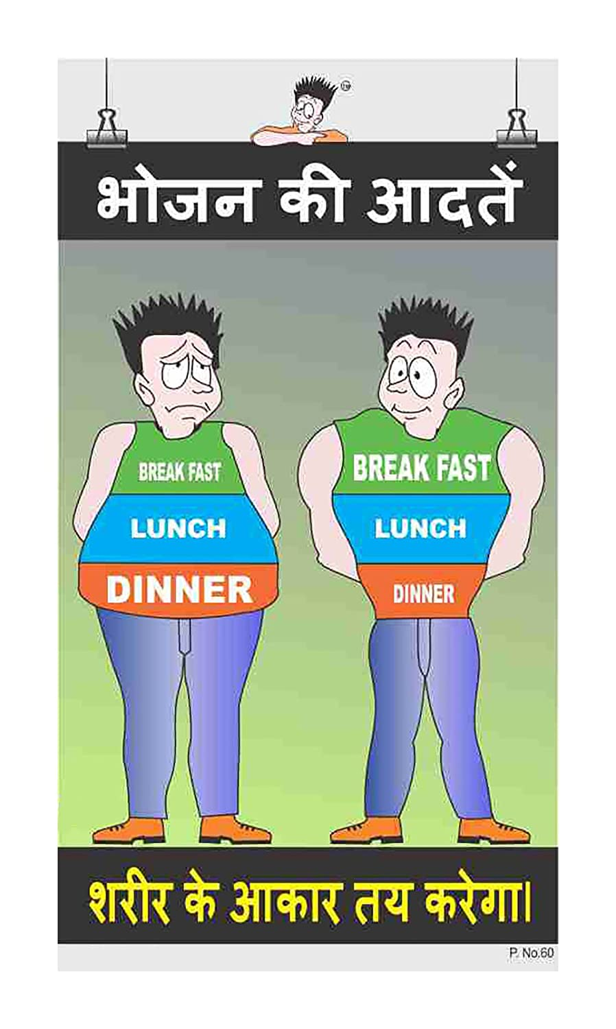 Posterkart Canteen Poster Food Habits Hindi 66 Cm X 36 Cm X 1 Cm Amazon In Office Products