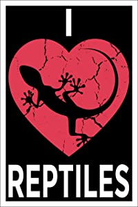 Spitzy's I Heart Reptiles 12 by 18 Inch Poster, Reptile Enthusiasts - Snake, Turtle, Iguana, Gecko Lovers, Home Wall Art Printed Bedroom Decoration