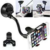Car Phone Mount Windshield, Long Arm Clamp iVoler Universal Windshield with Double Clip Strong Suction Cup Cell Phone Holder