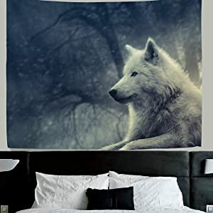 ALAZA Wolf wall decor Forest Lone Wolf Fabric Tapestry Throw Dorm bedroom Art Home Decor Tapestry Wall Hanging 80x60 Inch