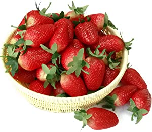 Gresorth 10pcs Artificial Lifelike Red Strawberry Decoration Fake Fruit Home Party Christmas Photography Props