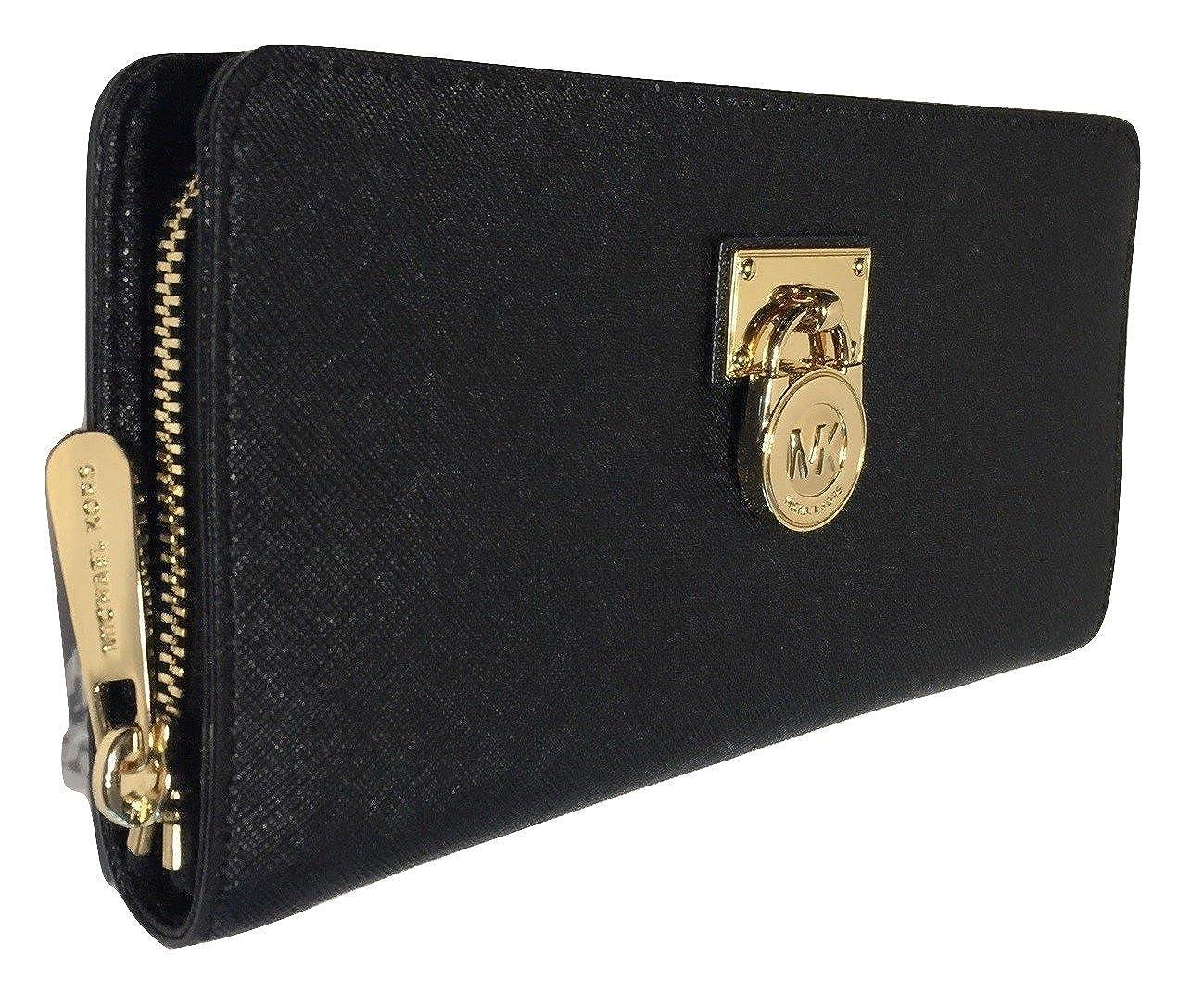 a88395b260b88 Amazon.com  Michael Kors Hamilton Traveler LG Zip Around Wallet (Black)   Shoes