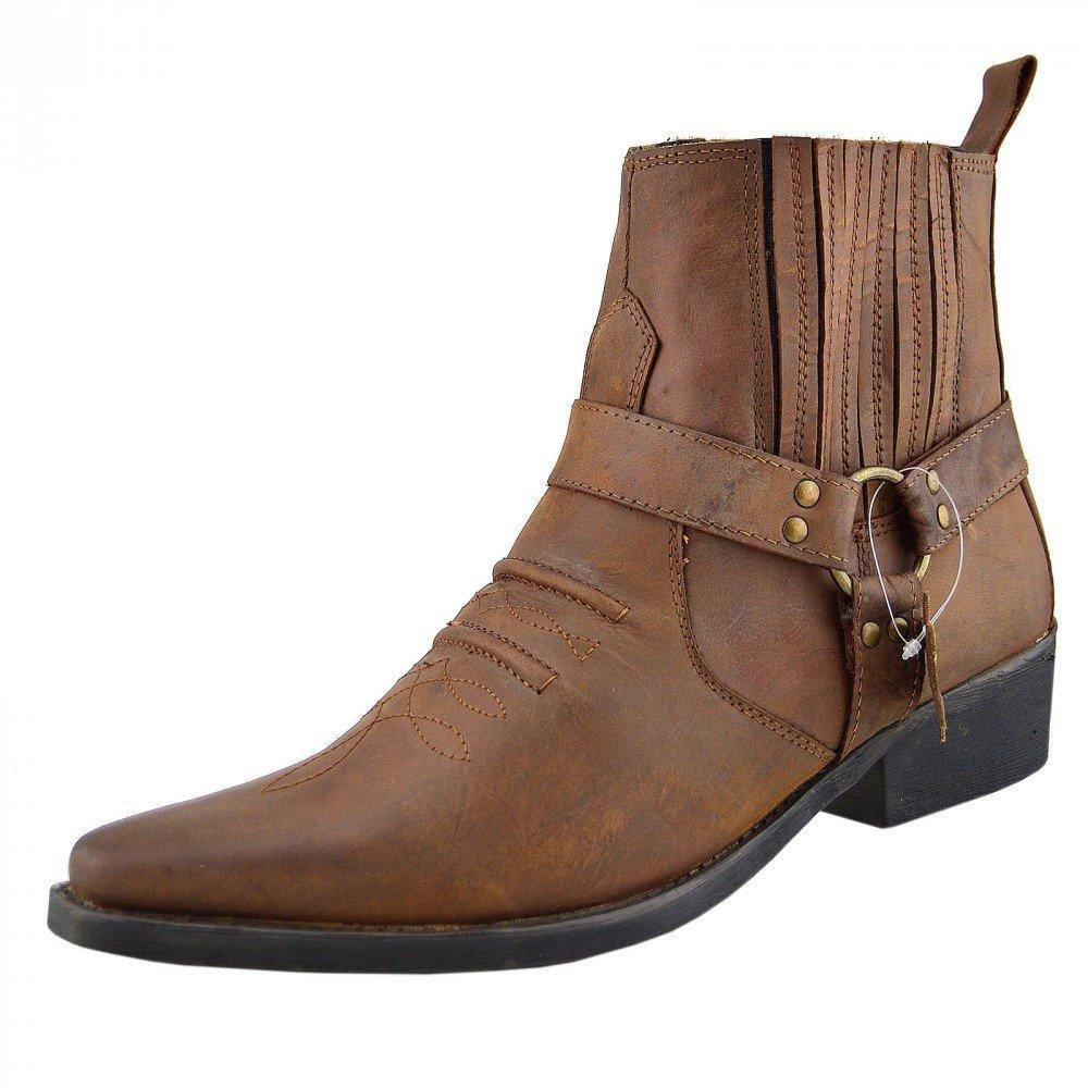 Hellbraun Kick Footwear - Herren Cowboy Ankle Stiefel Aus Leder Biker-Stiefel Aus Leder Toe