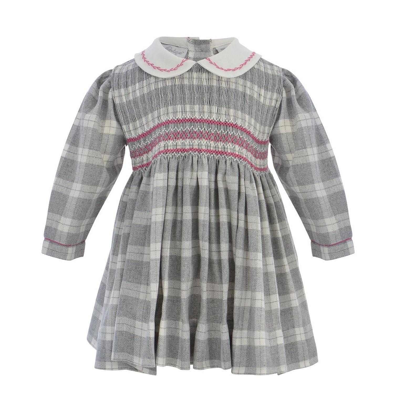 Vintage Style Children's Clothing: Girls, Boys, Baby, Toddler Baby Girls Plaid Long Sleeve Hand Smocked Dress $52.00 AT vintagedancer.com