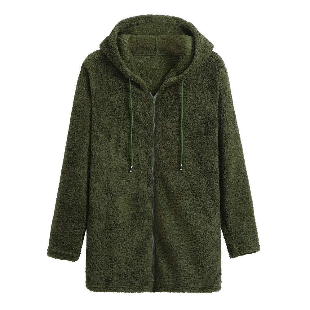 ❤️Manteau Veste Femme Blouson Amlaiworld Femmes L'automne Manteau à Manches Longues zippé à Capuche Polaire Veste Sweatshirts Couleur Unie