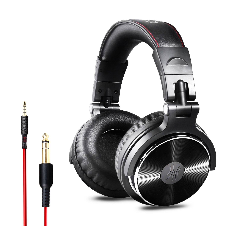 Auriculares cerrados con cancelación de ruido y cable de OneOdio para control de estudio de DJ, para vigilancia, incluye adaptador (acabado brillante)
