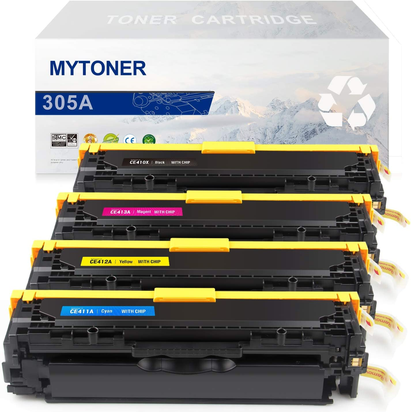 MYTONER Remanufactured Toner Cartridge Replacement for HP 305A 305X CE410X CE410A CE411A CE412A CE413A (Black Cyan Magenta Yellow, 4-Pack)