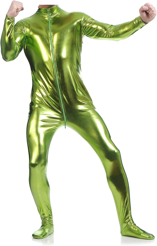Ensnovo Mens Front Crotch Zipper Shiny Metallic Spandex Unitard Costumes