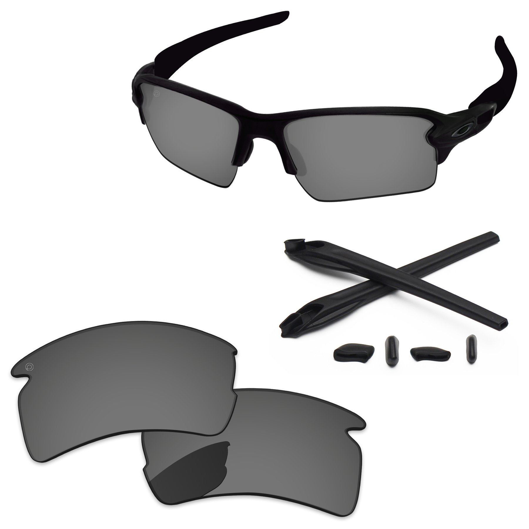 PapaViva Replacement Lenses & Rubber Kits for Oakley Flak 2.0 XL Pro+ Black Chrome Polarized