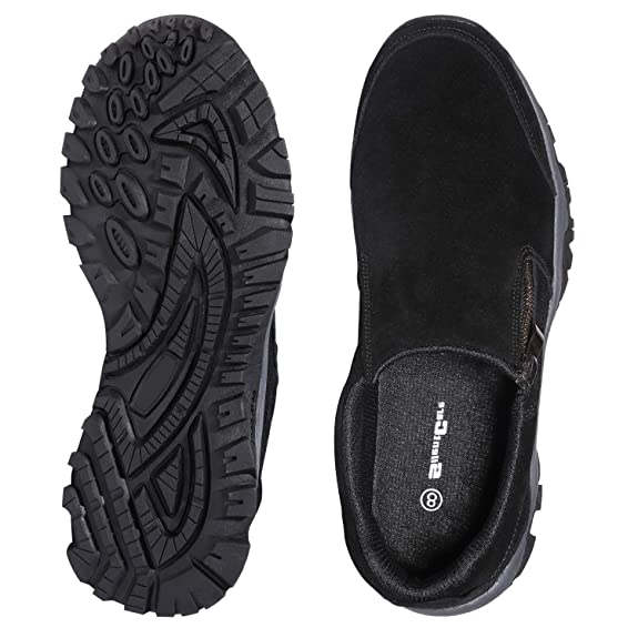 11 M US, Black SILENTCARE Mens Loafers Casual Shoes,Breathable Lightweight Zipper Slip On Sneakers, Hiking Shoes for Outdoor Trail Trekking