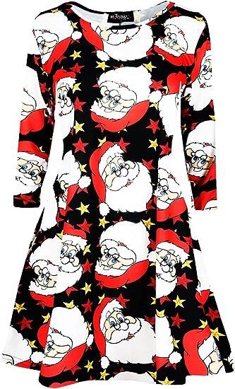 Womens Ladies Christmas Xmas Santa Snowman Star Penguin Flared Swing Mini Dress