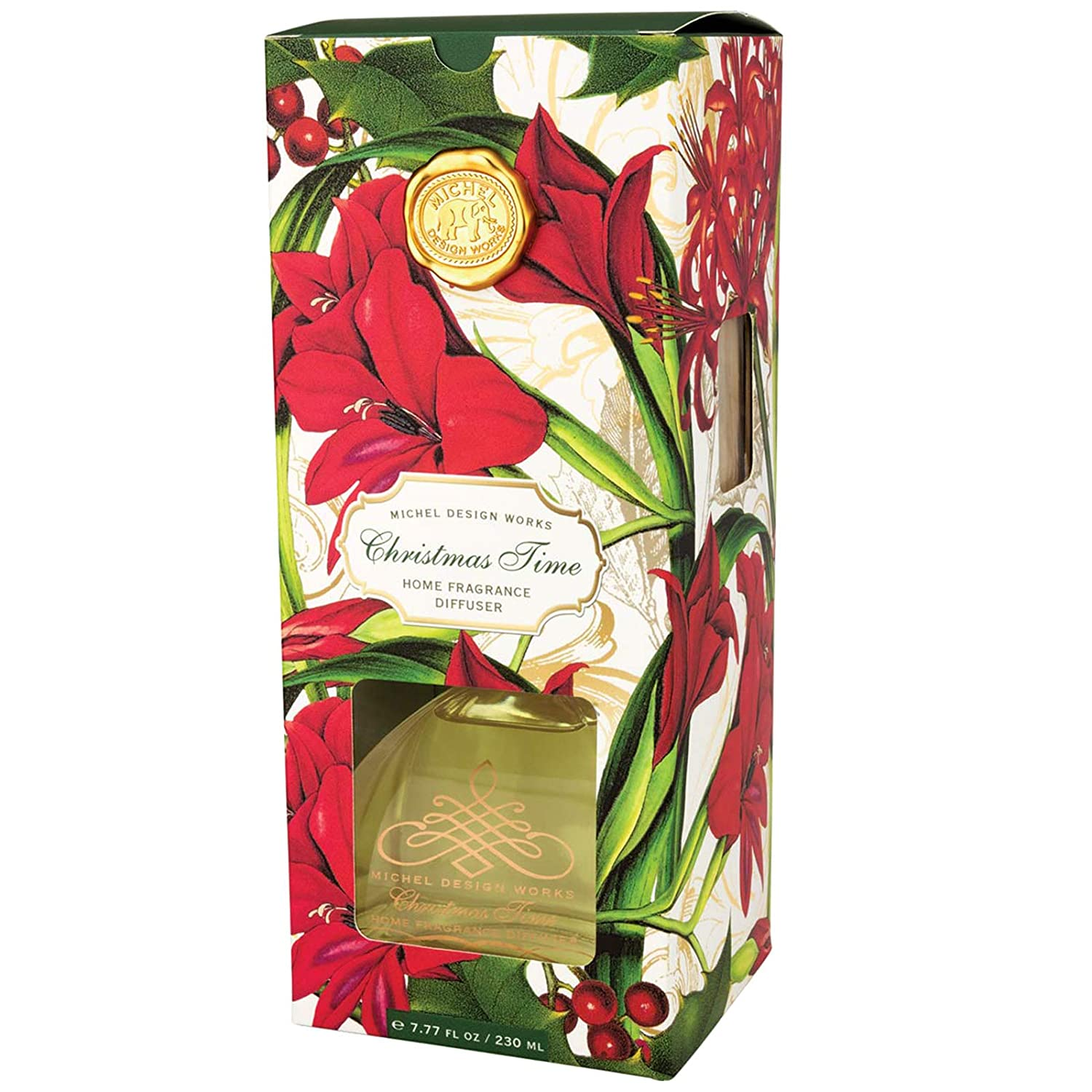 Michel Design Works Fragrance Diffuser Christmas Time Scent Mistletoe Ivy Glass Bottle with Oil and Reeds