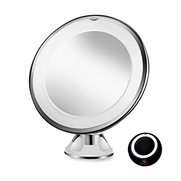 Amazon sayard 10x magnifying lighted vanity makeup mirror with sayard 10x magnifying lighted vanity makeup mirror with natural white led 360 degree swivel rotation aloadofball Images