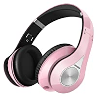 Mpow 059 Bluetooth Headphones Over Ear, Hi-Fi Stereo Wireless Headset, Foldable, Soft Memory-Protein Earmuffs, w/ Built-in Mic and Wired Mode for PC/ Cell Phones/ TV - Pink