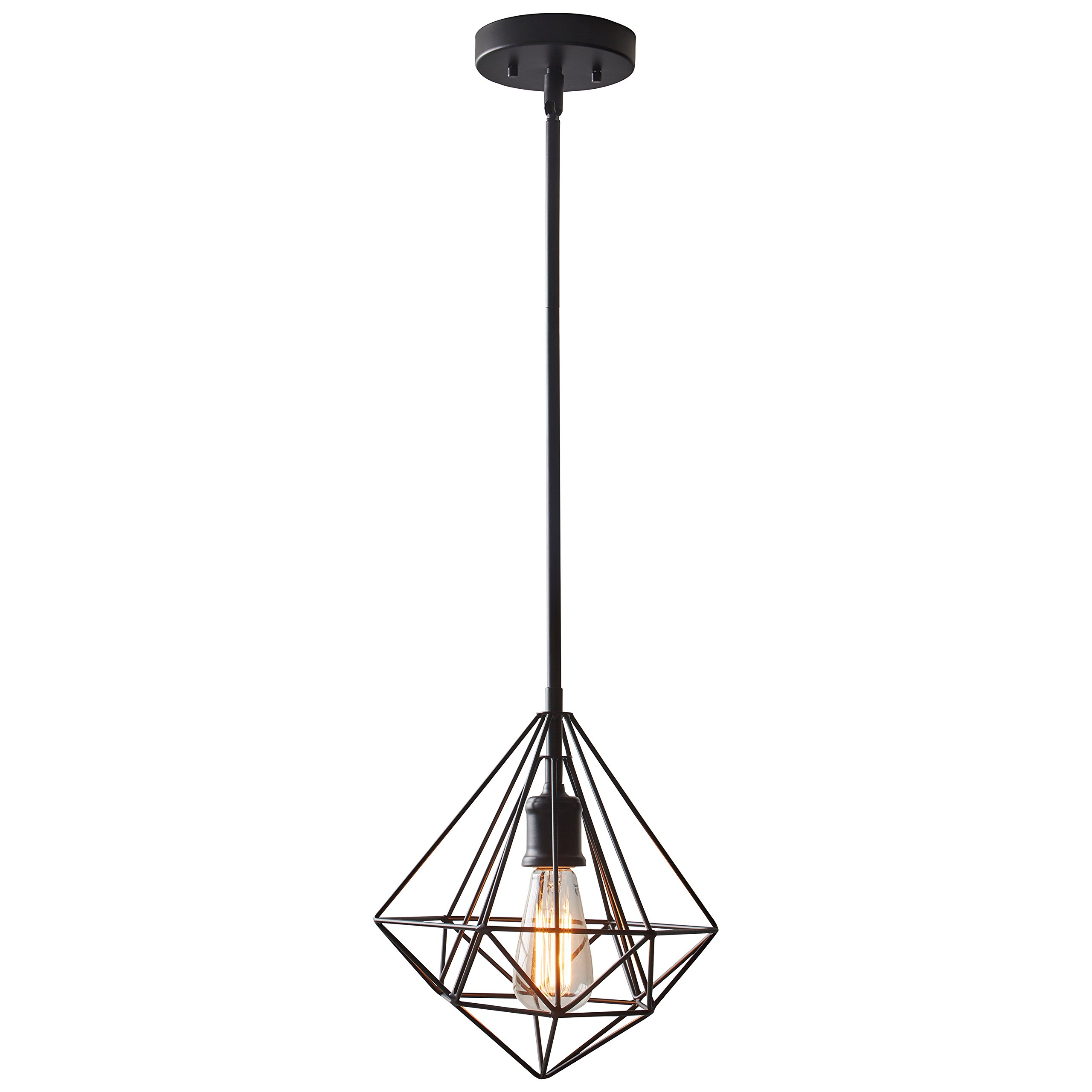 Rivet Industrial Geometric Cage Light With Bulb, 14.75''-62.75'' H, Black