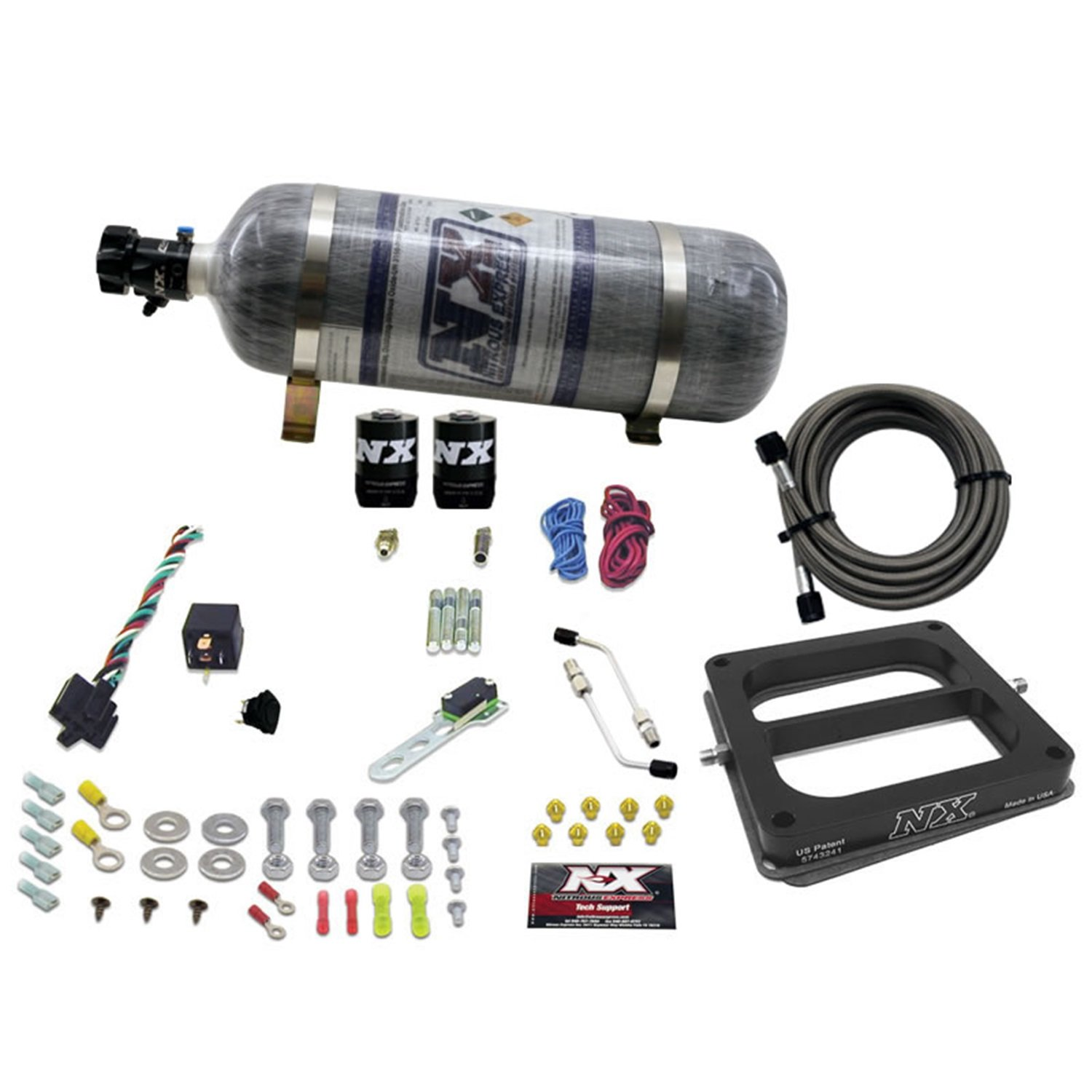 Nitrous Express 50075-12 100-500 HP Dominator Alcohol Conventional Pro Power Plate System with 12 lbs Composite Bottle