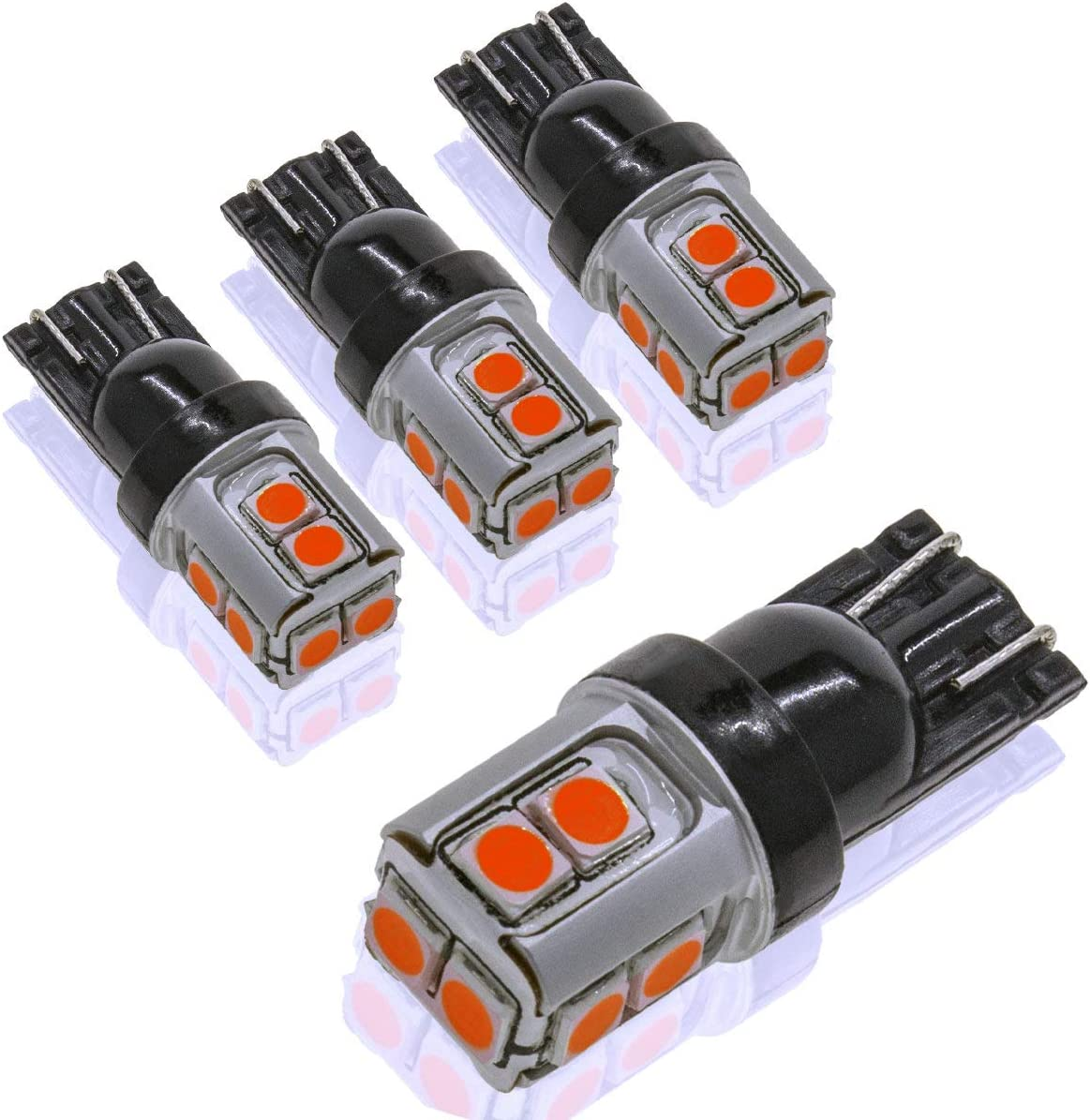 DODOFUN CANBUS T10 Extra Bright Red Color Car Interior Exterior Replacement Bulb 168 175 194 2825 W5W etc. Size Map Dome Door LED Light 12V ~ 24V Error Free (Pack of 4)