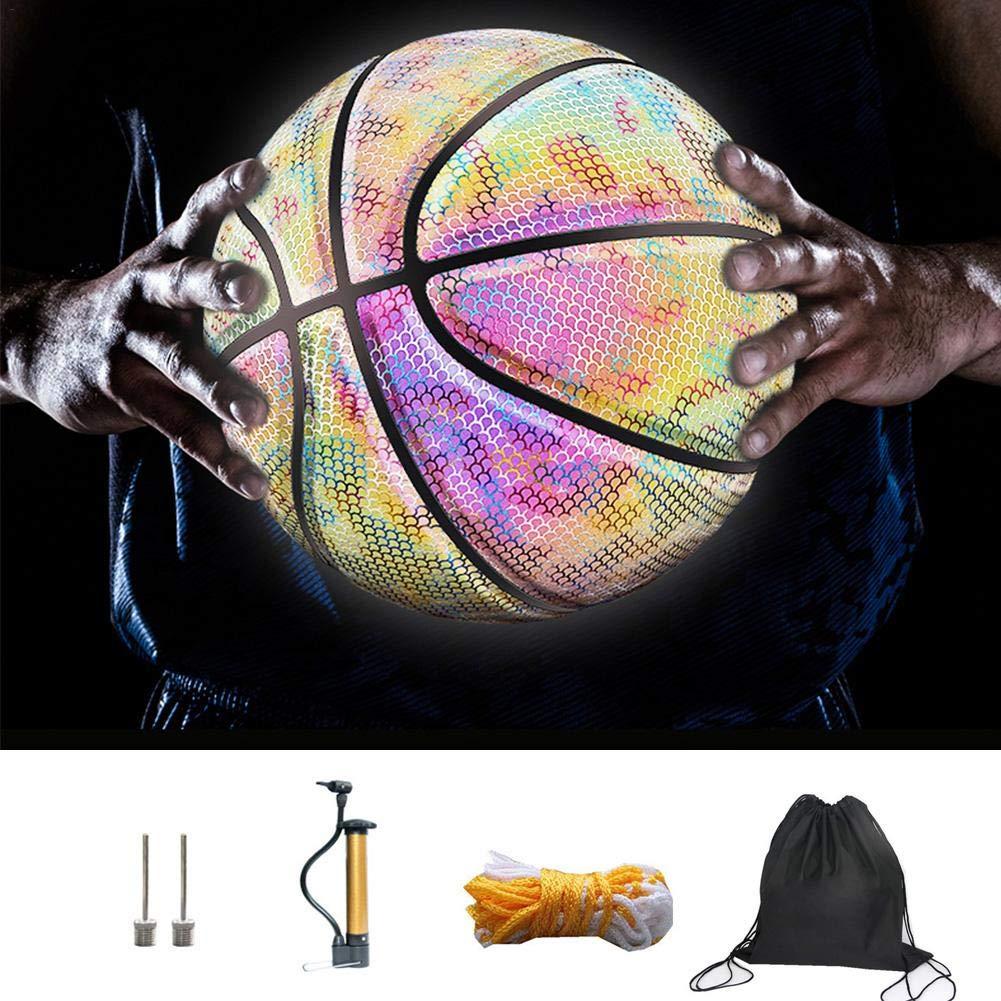 Brillante Arcoiris Conjunto de Baloncesto Reflectante Brillante Bolsa de Transporte y Bomba para ni/ños Adolescentes Pelota de Entrenamiento Escolar Suave y Luminosa Luminosa Baloncesto