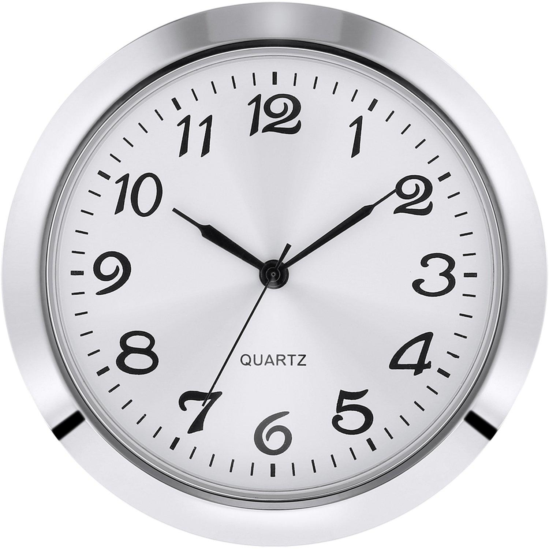 Hicarer 2-1/8 inch (55 mm) Quartz Clock Insert, Zinc-Alloy Metal Case, Arabic Numeral, White Face (Silver)